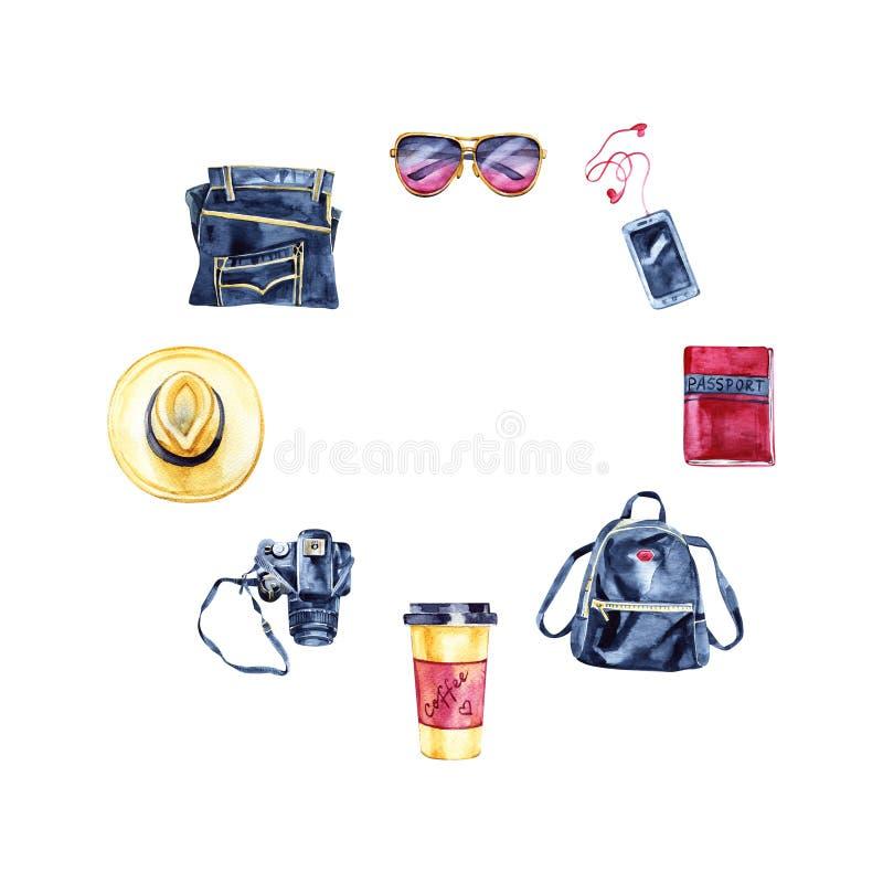 Croquis d'ensemble de voyage de hippie : caméra de photo, jeans, verres, ricanements, chapeau, sac à dos Type de cru Retrait de m illustration libre de droits