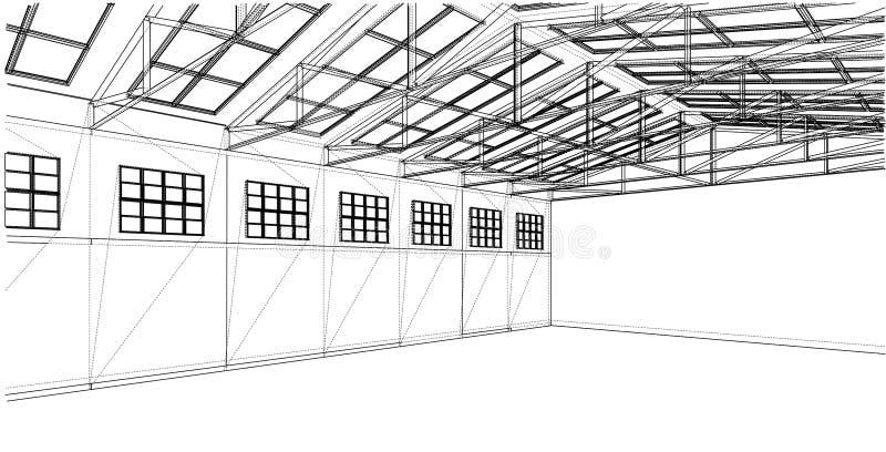 Croquis d'entrepôt Rendu de vecteur de 3d illustration libre de droits