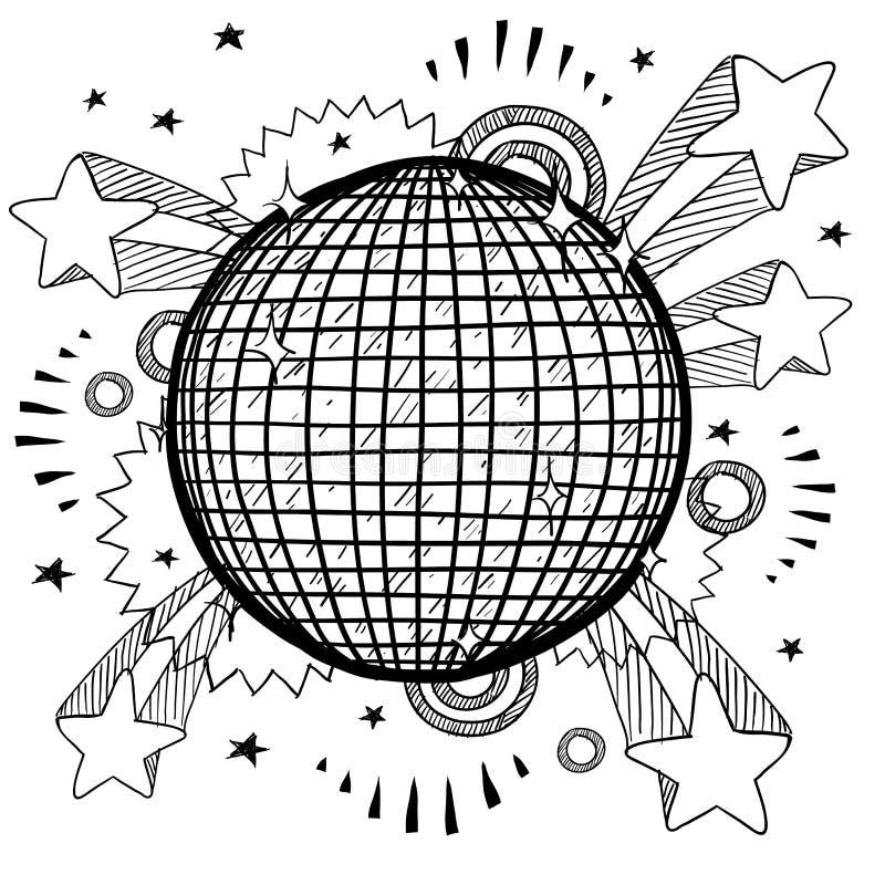 Croquis d'excitation de disco illustration de vecteur