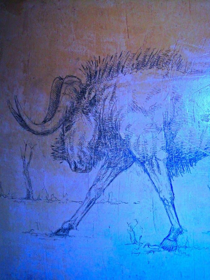 CROQUIS D'A GNU CONTRE UN MUR photo libre de droits