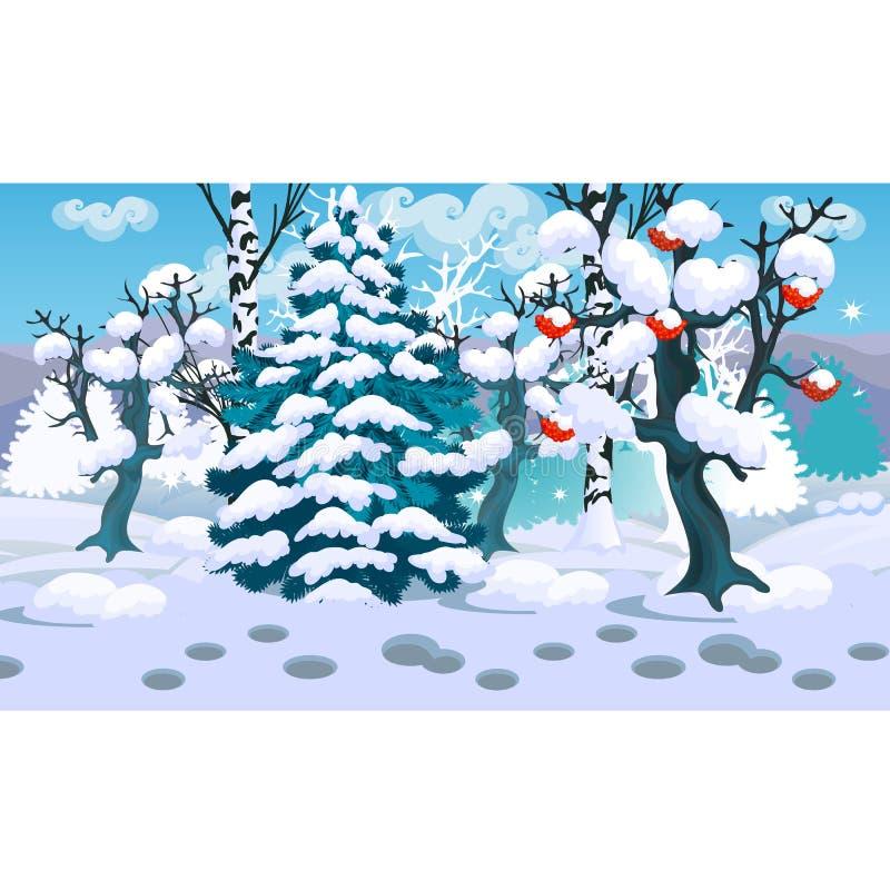 Croquis d'hiver sur le fond du sapin neigeux et l'arbre de la sorbe rouge dans l'échantillon de forêt de Noël et de nouvelle anné illustration de vecteur