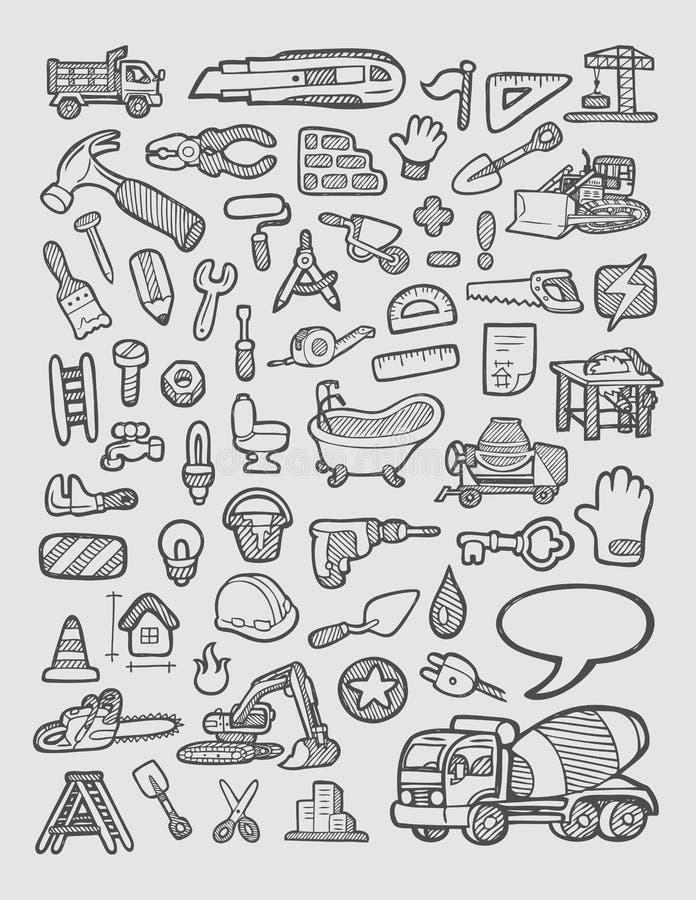 Croquis d'icônes de construction illustration libre de droits
