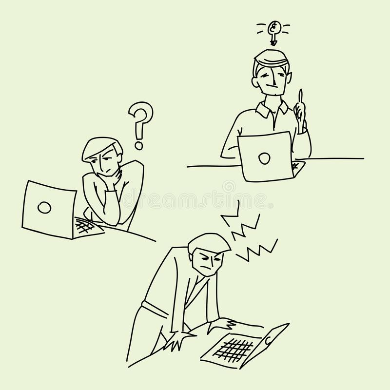 Croquis d'illustration de vecteur d'idée d'effort de question de bureau illustration de vecteur