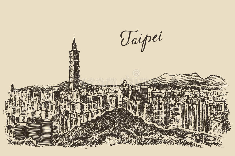 Croquis d'illustration gravé par Taïwan d'horizon de Taïpeh illustration de vecteur