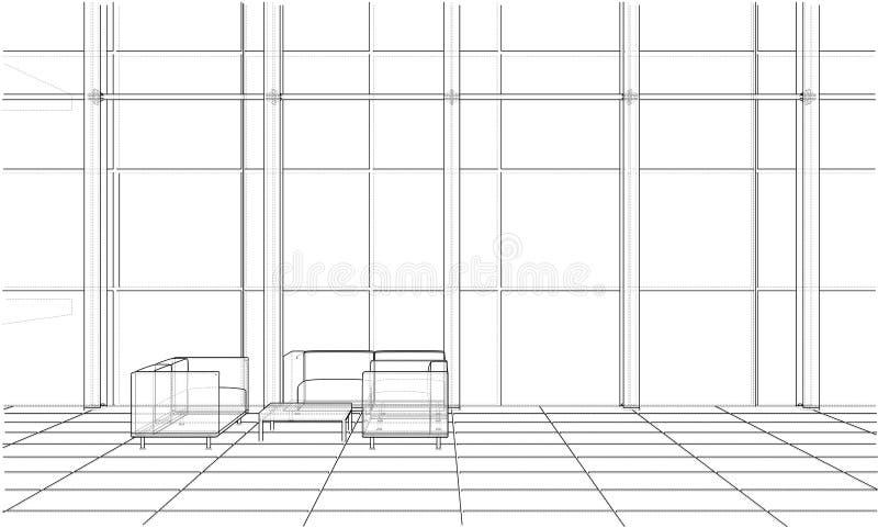 Croquis d'intérieur de bureau Vecteur illustration stock