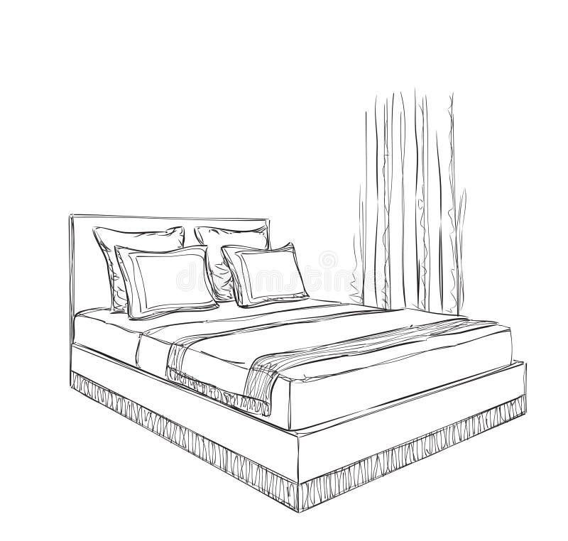 Croquis d 39 int rieur de chambre coucher illustration de - Croquis chambre a coucher ...