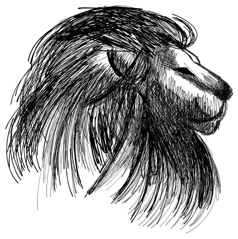 Croquis d'isolement d'un lion dans le noir illustration de vecteur