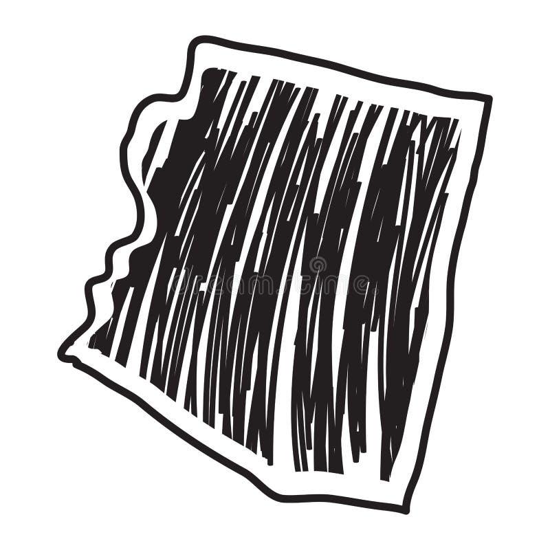 Croquis d'isolement de l'état de l'Arizona illustration stock
