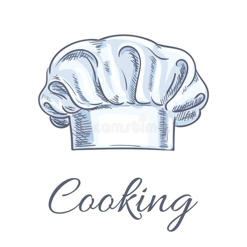 Croquis d'isolement par toque de chapeau ou de boulanger de chef illustration libre de droits
