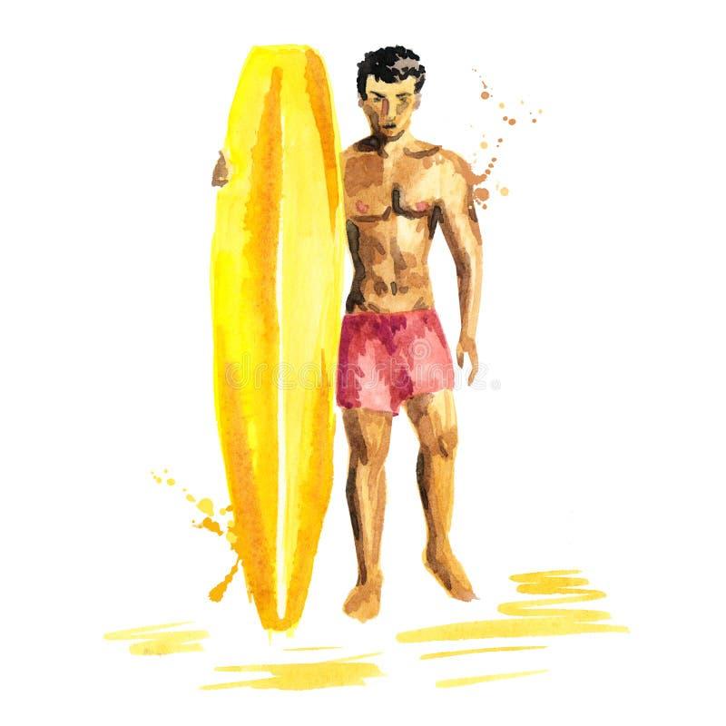 Croquis d'isolement tiré par la main d'homme de surfer avec le conseil illustration libre de droits