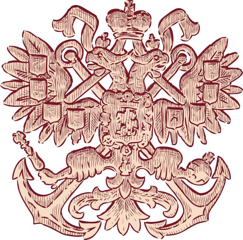 Croquis d'un aigle à deux têtes héraldique illustration stock