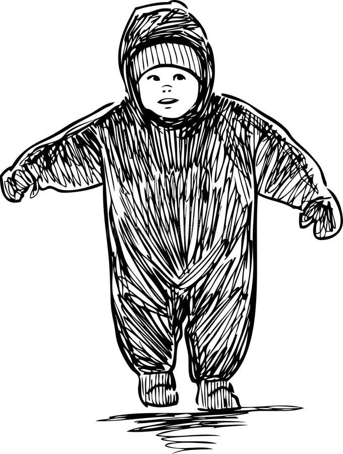 Croquis d'un bébé dans des combinaisons marchant sur une balade illustration de vecteur