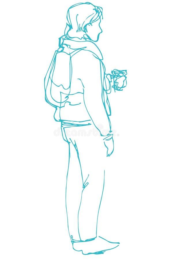 Croquis d'un café debout et potable de jeune homme illustration libre de droits