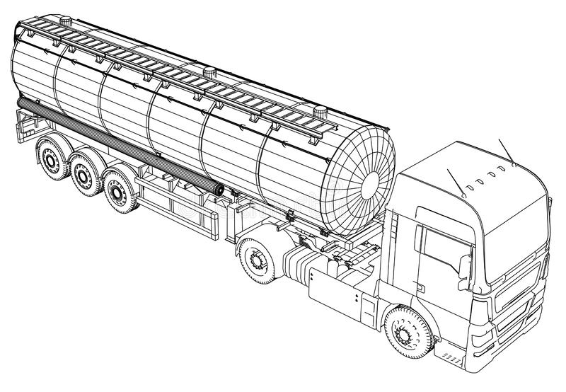 Croquis d'un camion avec un vecteur de réservoir Illustration créée de 3d Fil-cadre illustration stock