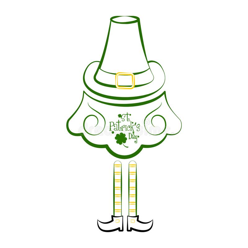 Croquis d'un chapeau traditionnel de l'Irlande avec la barbe et elven des jambes illustration de vecteur