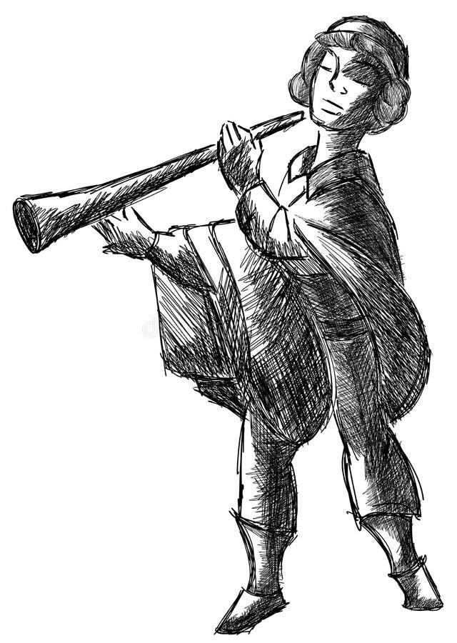Croquis d'un homme avec le klaxon dans le noir d'isolement illustration libre de droits