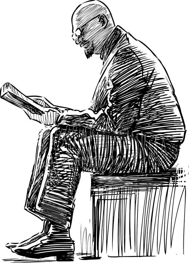 Croquis d'un homme plus âgé lisant un livre sur un banc de parc illustration stock