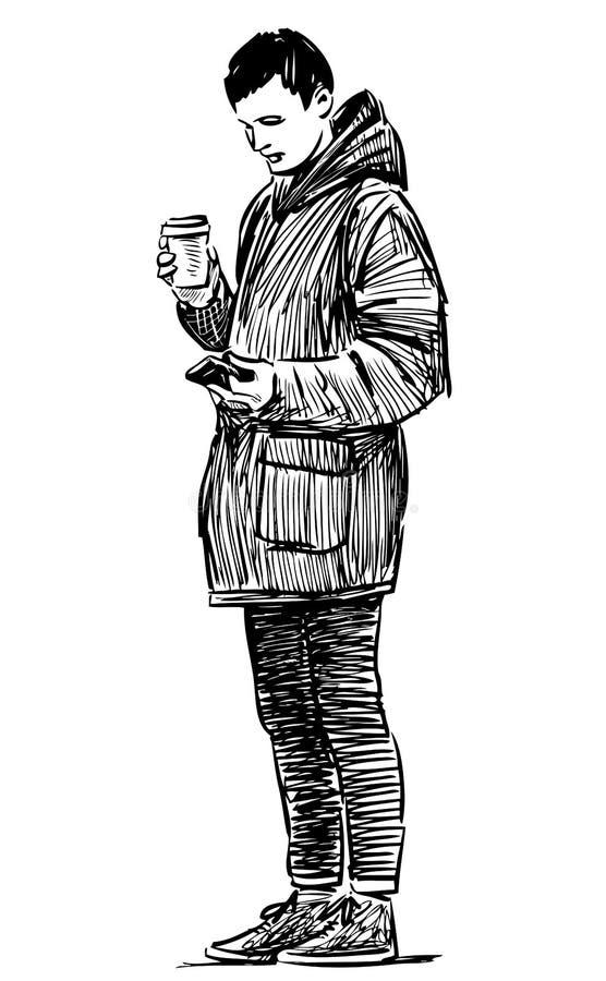 Croquis d'un jeune citadin avec une tasse de coffe et un téléphone portable illustration de vecteur