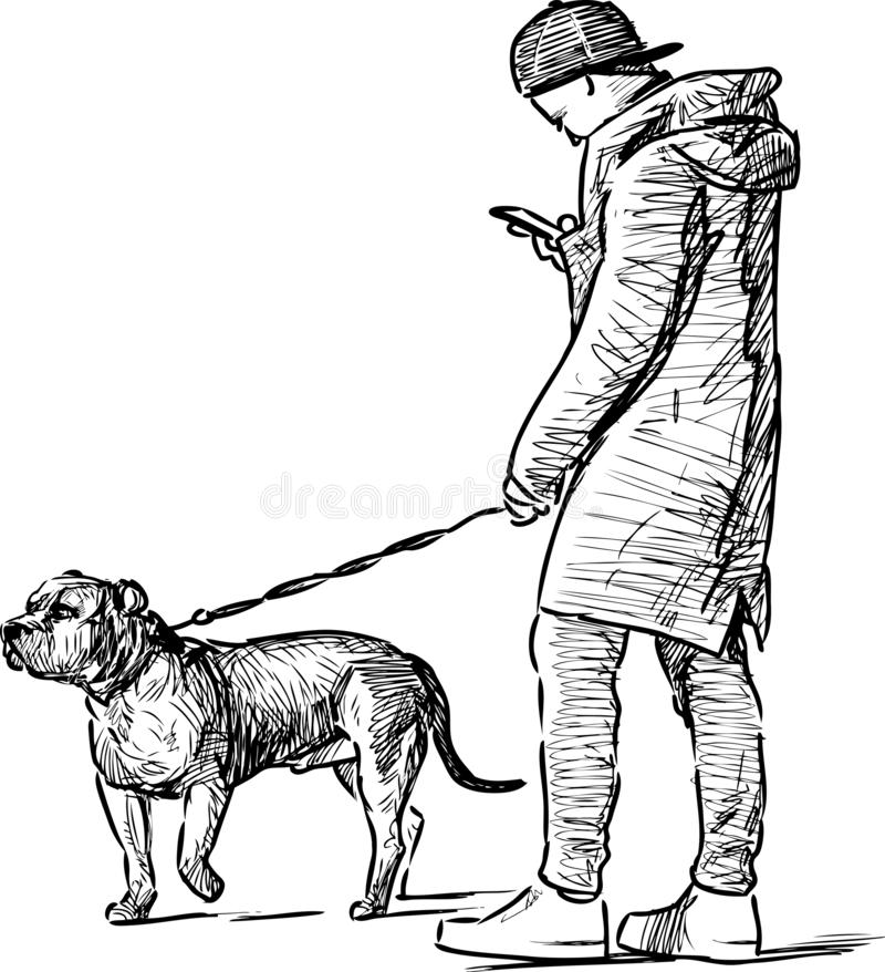 Croquis d'un jeune homme avec un smartphone marchant avec son chien illustration de vecteur