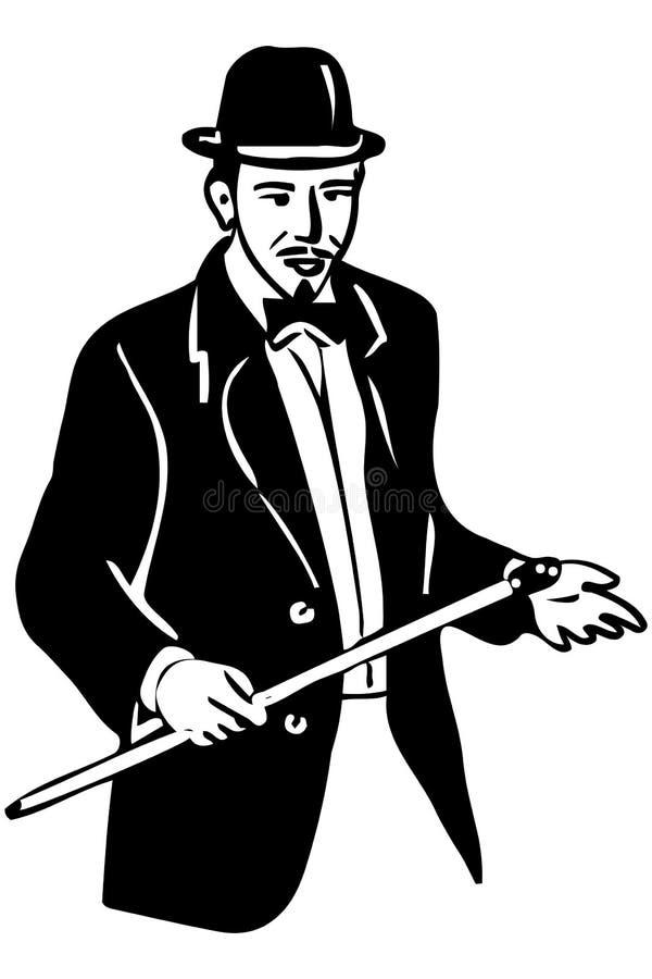Croquis d'un jeune homme dans un chapeau et une canne de lanceur illustration libre de droits