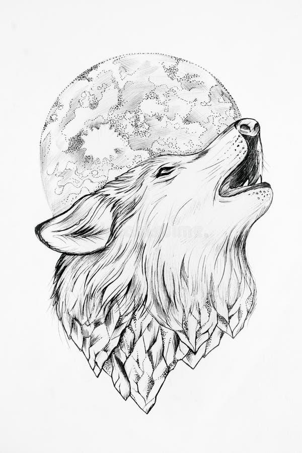 Croquis d'un loup hurlant au fond de blanc de lune illustration libre de droits