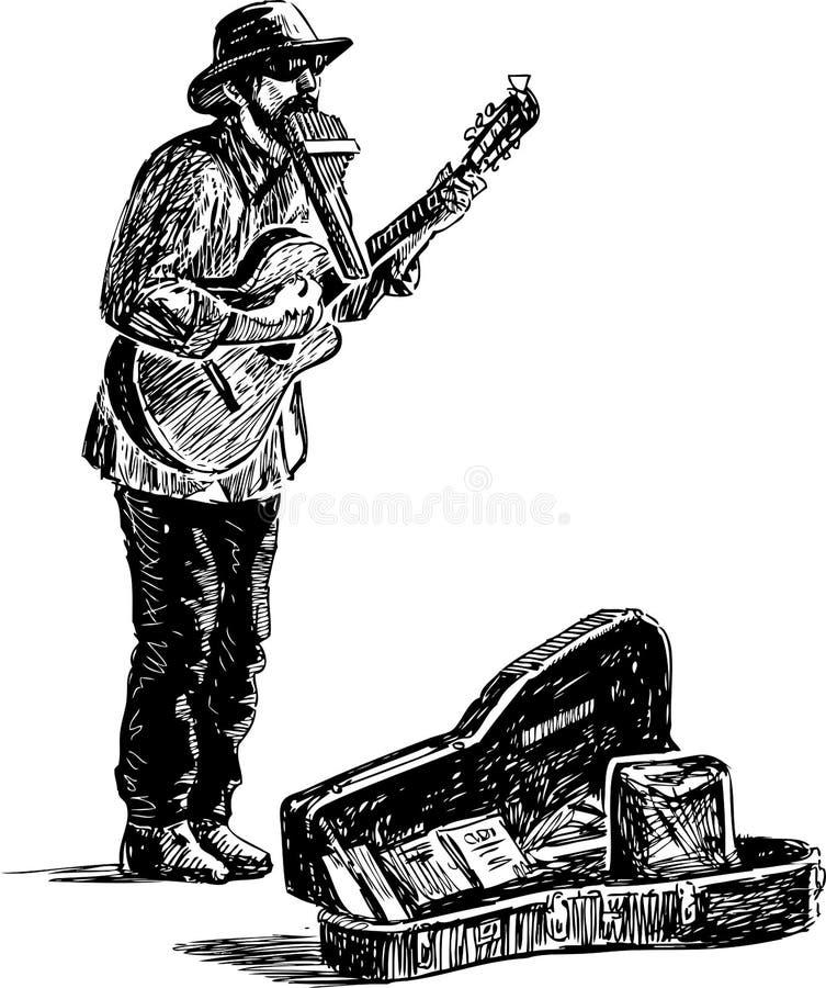 Croquis d'un musicien de rue occasionnel jouant sur une rue illustration libre de droits