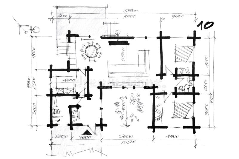 Croquis d 39 un plan de disposition de maison illustration for Croquis de maison