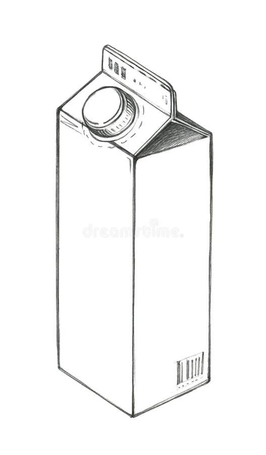Croquis d'un sac de papier de empaquetage pour le liquide avec un couvercle Dessin au crayon illustration stock