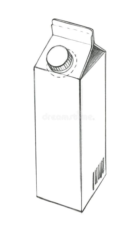 Croquis d'un sac de papier de empaquetage pour le liquide avec un couvercle Dessin au crayon illustration libre de droits
