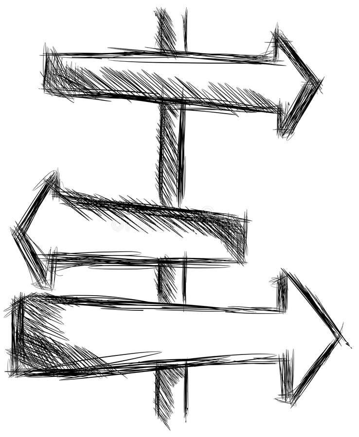 Croquis d'un signe avec des flèches illustration de vecteur