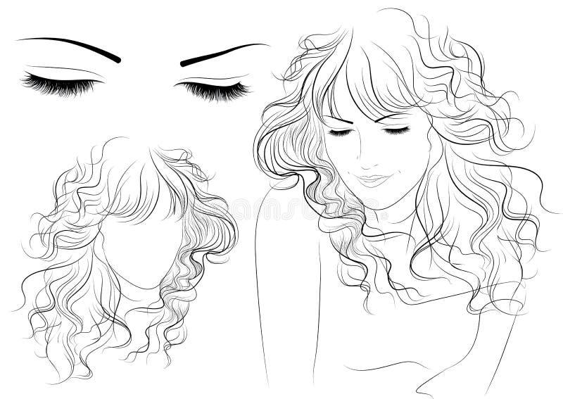 croquis d'une fille avec le long cheveu illustration stock