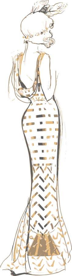 Croquis d'une jeune fille dans une belle robe illustration de vecteur