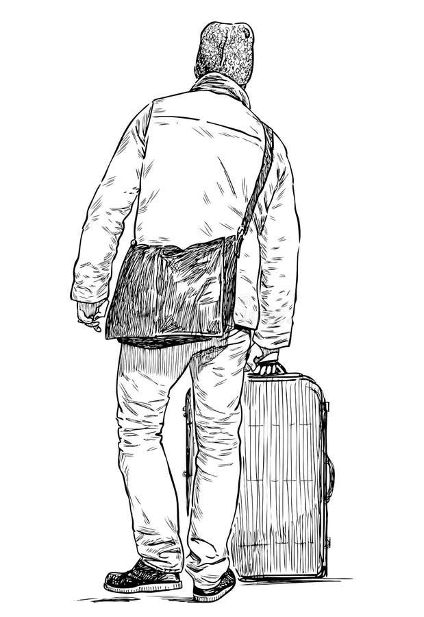 Croquis d'une personne avec une valise lourde allant pour un voyage illustration libre de droits