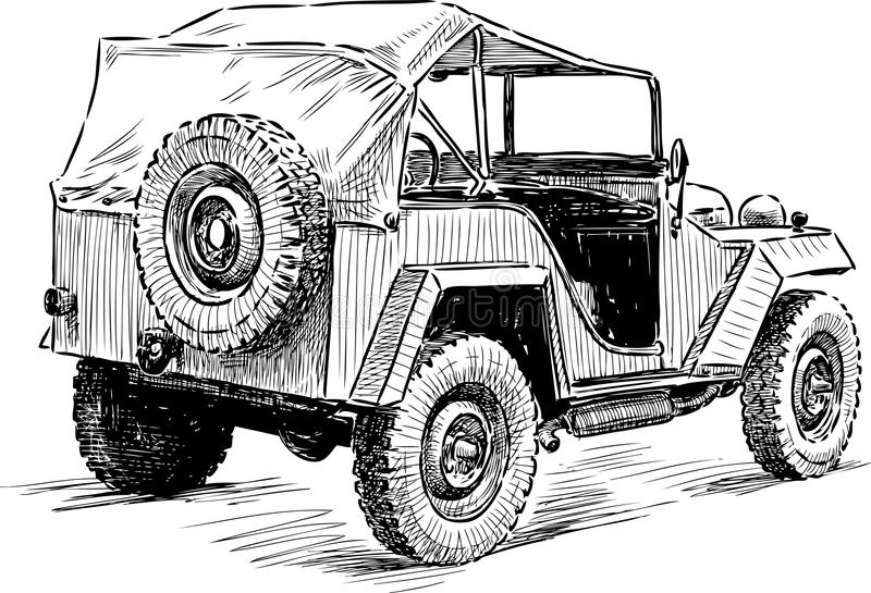 Croquis d 39 une vieille voiture illustration de vecteur illustration du mode roues 90752768 - Dessin vieille voiture ...