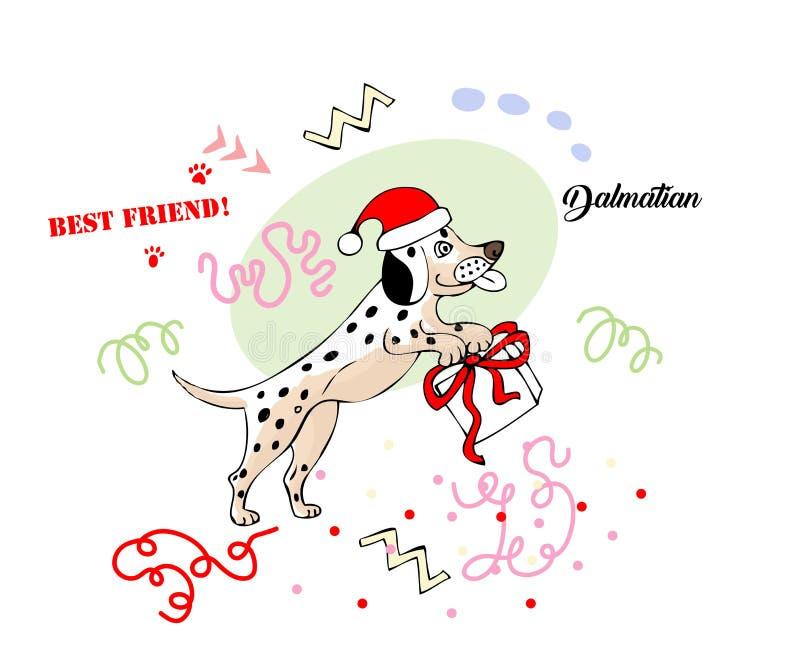 Croquis dalmatien drôle de chien illustration stock