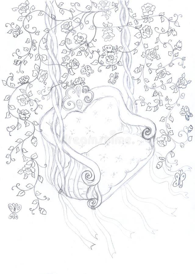 Croquis de balançoir entre les branchements floraux illustration stock