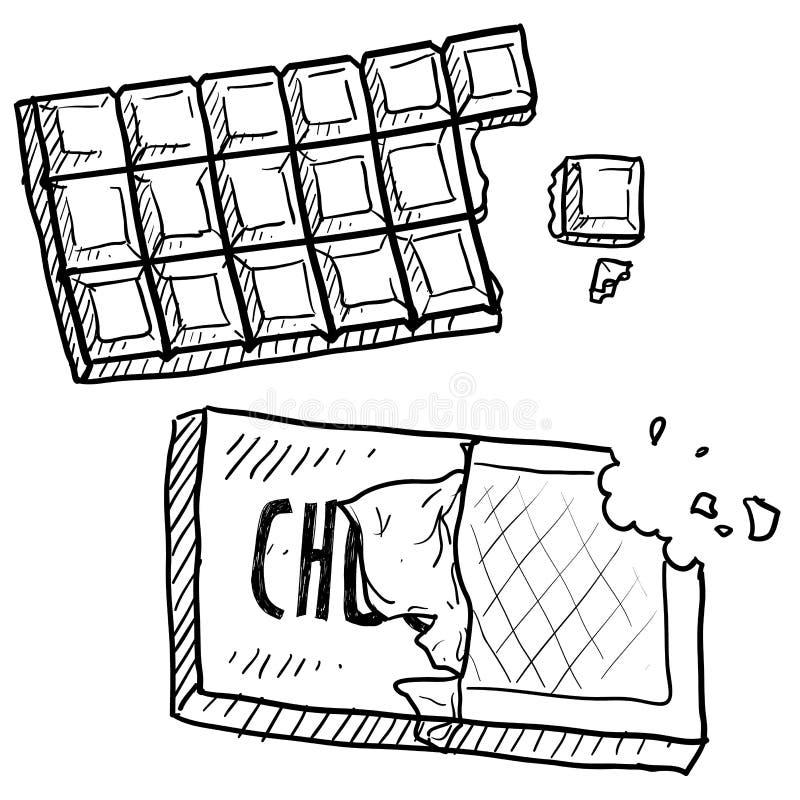 Croquis de bar de chocolat illustration stock