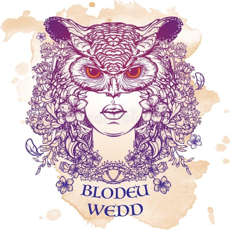 Croquis de Blodeuwedd sur un fond grunge illustration de vecteur