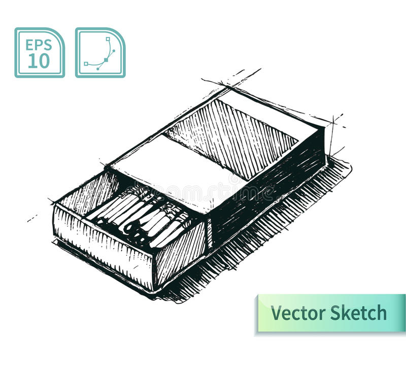 Croquis de boîte d'allumettes de vecteur Illustration pour votre conception illustration libre de droits