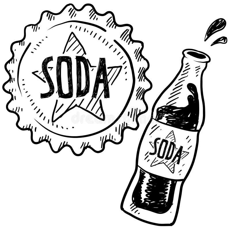 Croquis de bouteille de bicarbonate de soude illustration de vecteur
