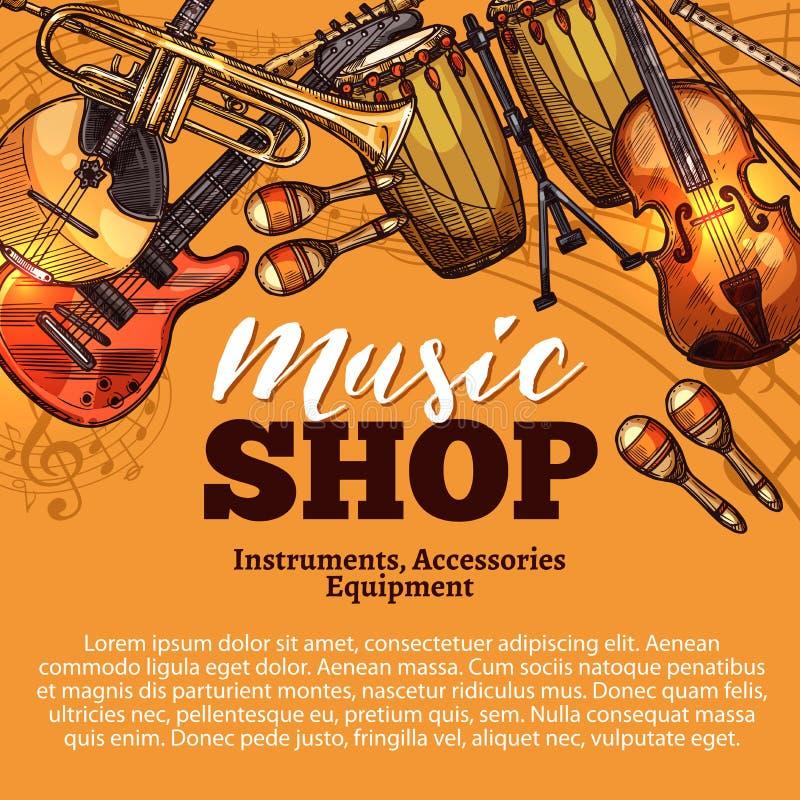 Croquis de boutique de musique de vecteur des instruments de musique illustration stock