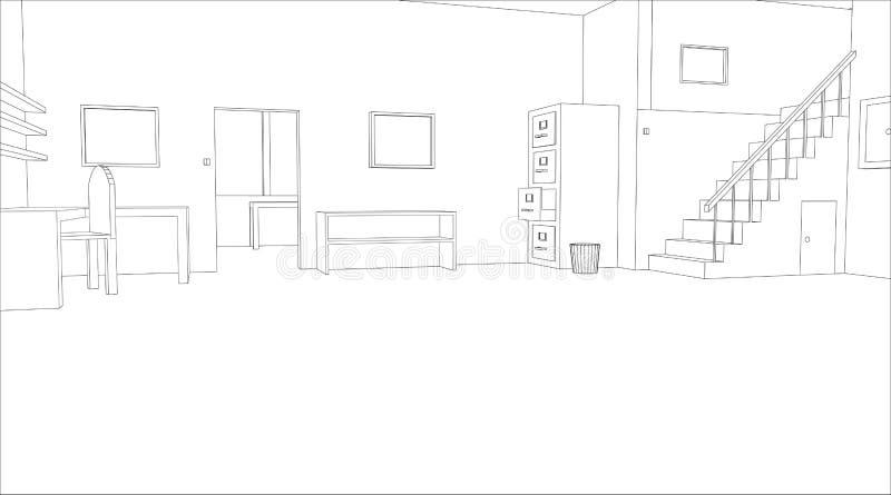 croquis de bureau illustration de vecteur