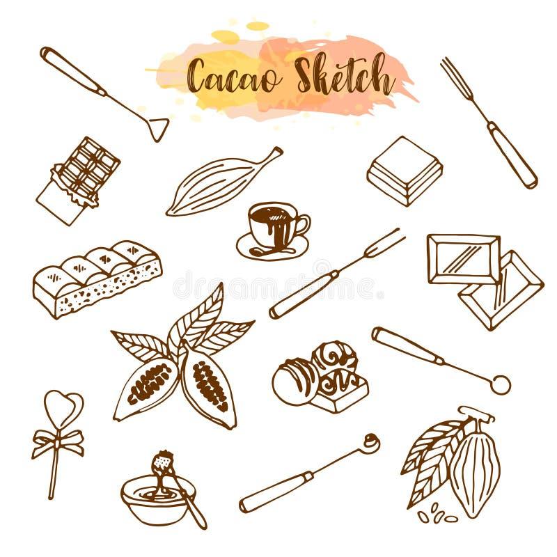 Croquis de cacao de chocolat Concevez le menu pour le restaurant, boutique, confiserie, culinaire, café, cafétéria, barre Graines illustration stock