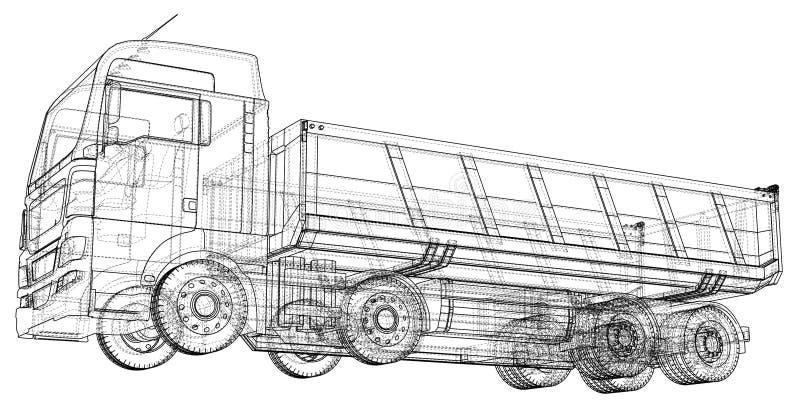 Croquis de camion à benne basculante D'isolement sur le fond blanc Illustration de découverte de 3d ENV 10 illustration stock