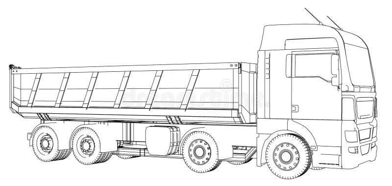 Croquis de camion à benne basculante D'isolement sur le fond blanc Illustration de découverte de 3d ENV 10 illustration libre de droits