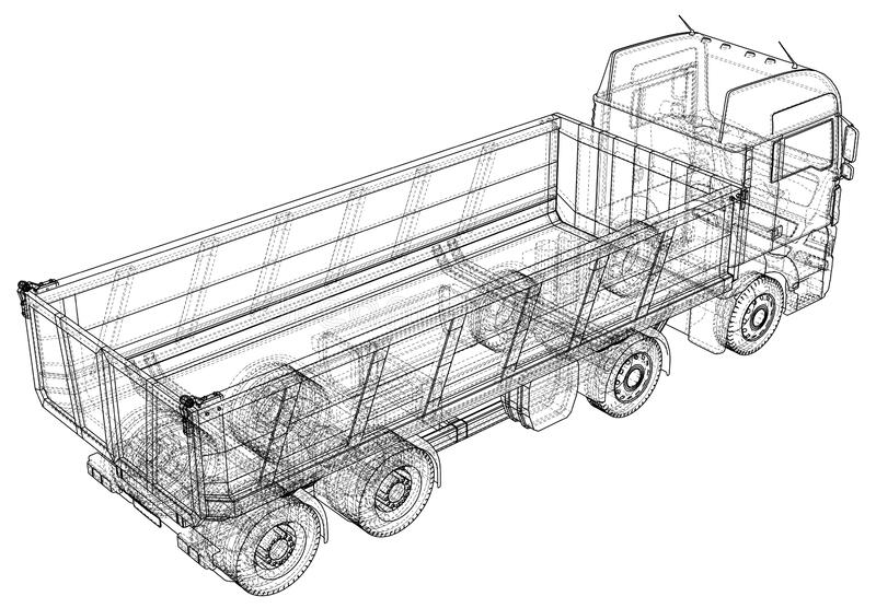 Croquis de camion à benne basculante D'isolement sur le fond blanc Illustration de découverte de 3d ENV 10 illustration de vecteur