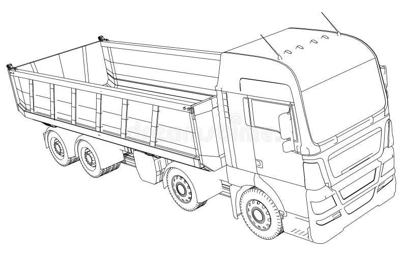 Croquis de camion à benne basculante de semi-remorque d'isolement sur le fond blanc illustration stock