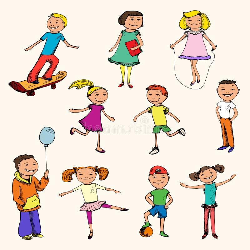 Croquis de caractères d'enfants coloré illustration de vecteur