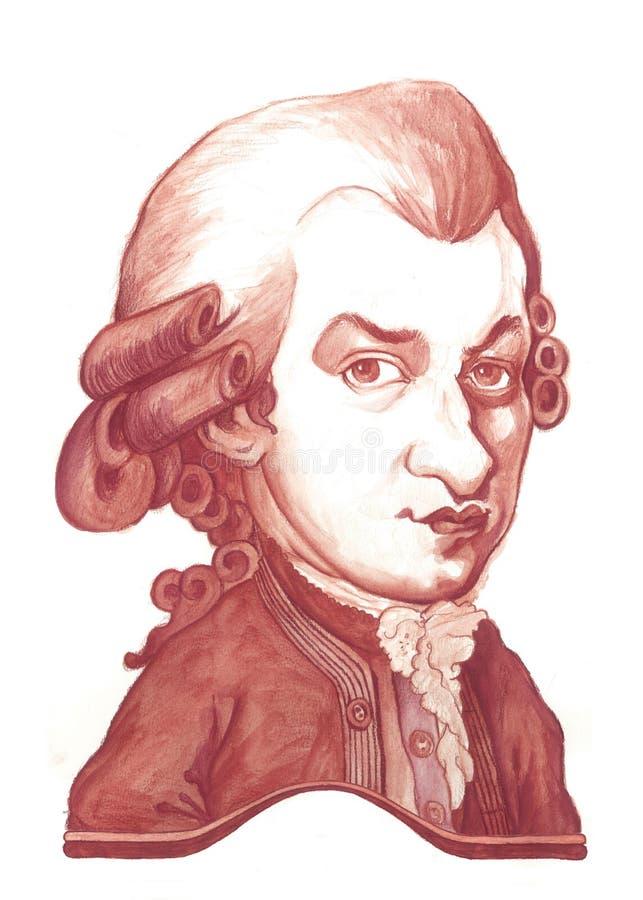 Croquis de caricature d'Amadeus Mozart