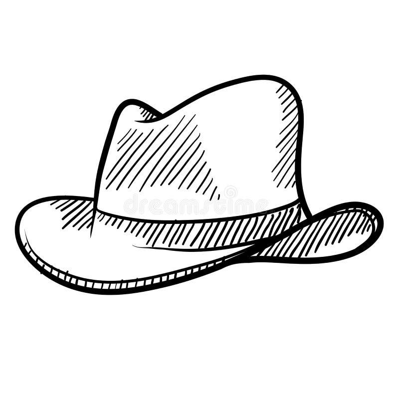 Croquis de chapeau de cowboy illustration stock